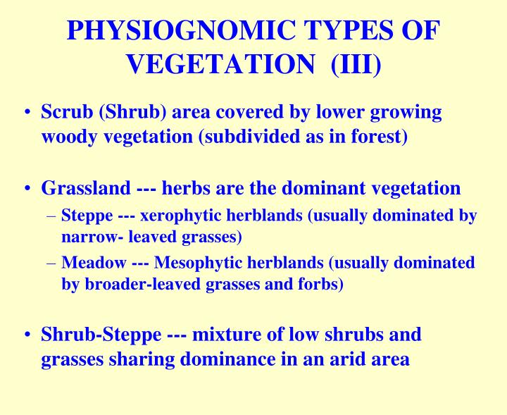 PHYSIOGNOMIC TYPES OF VEGETATION  (III)