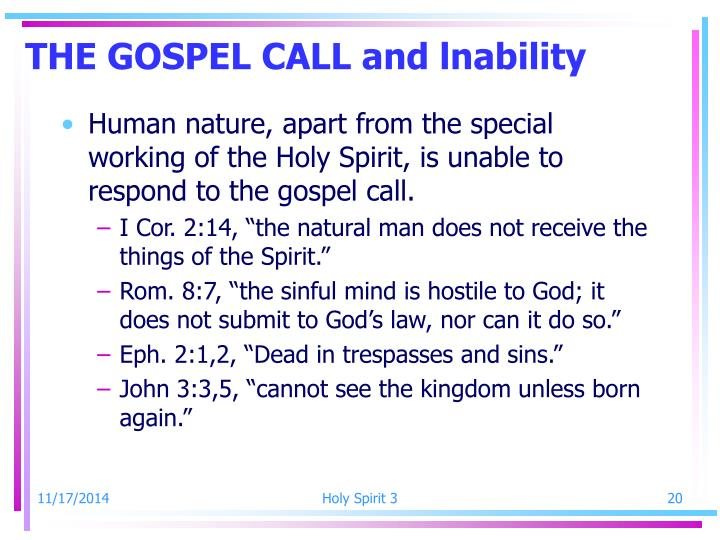 THE GOSPEL CALL and lnability