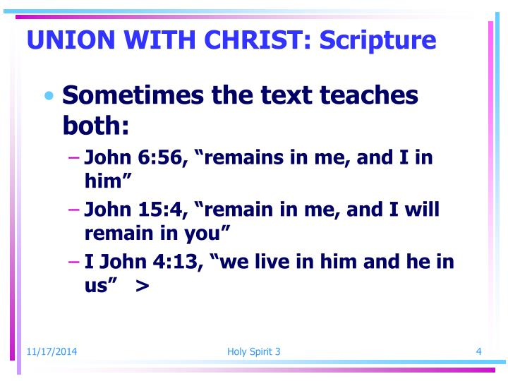 UNION WITH CHRIST: Scripture
