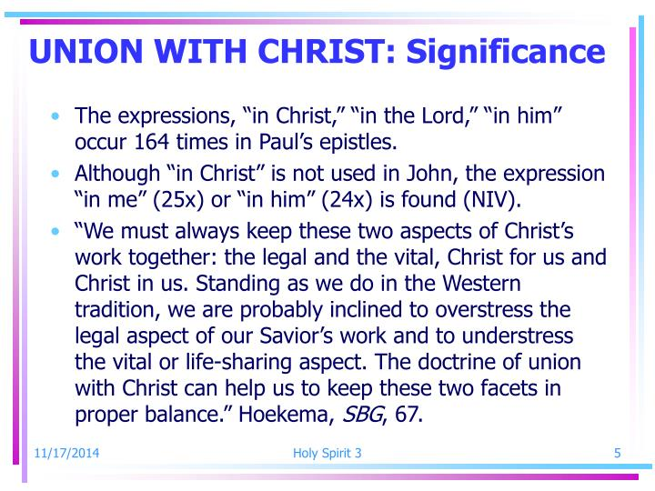 UNION WITH CHRIST: Significance