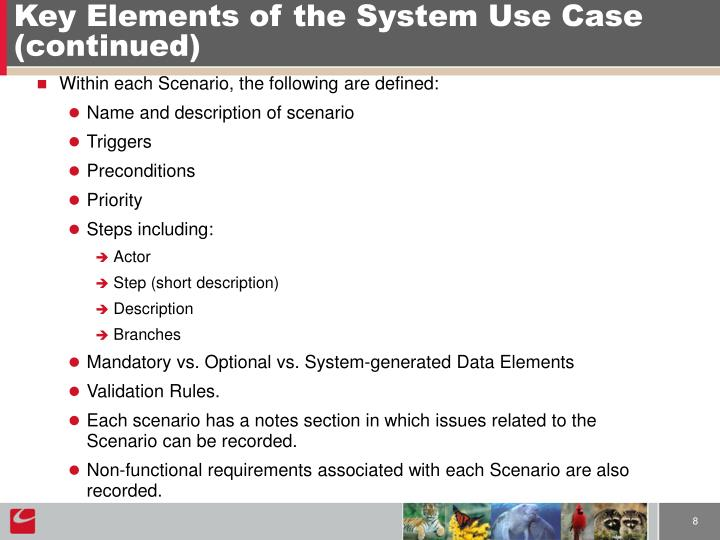 Key Elements of the System Use Case (continued)