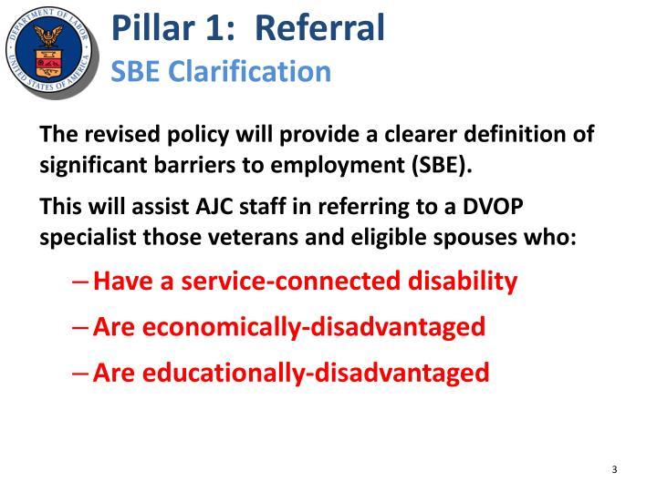 Pillar 1:  Referral