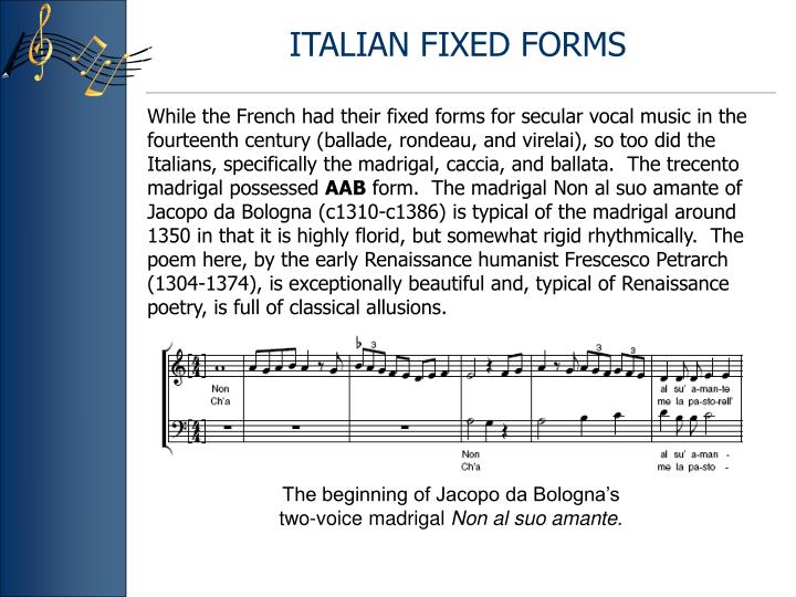 ITALIAN FIXED FORMS