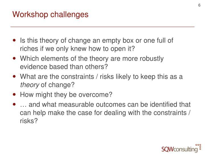 Workshop challenges