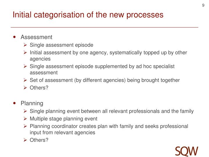 Initial categorisation of the new processes