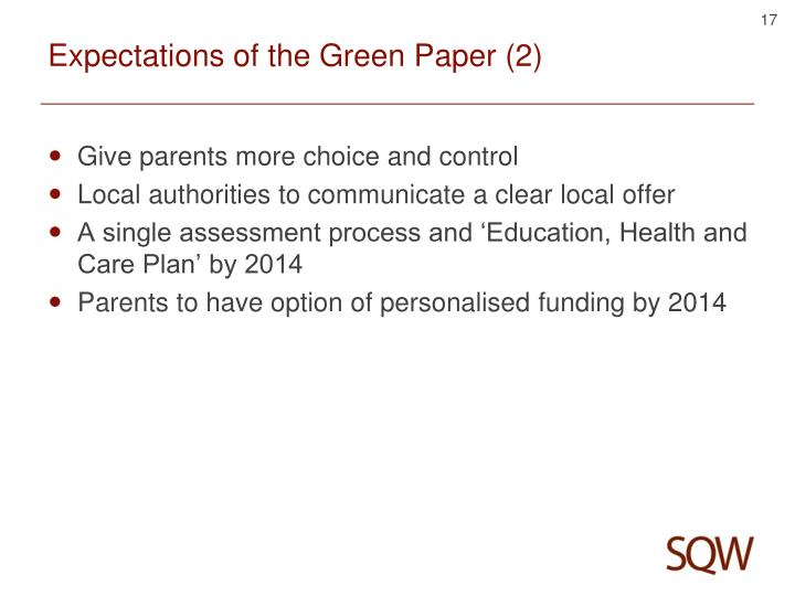 Expectations of the Green Paper (2)
