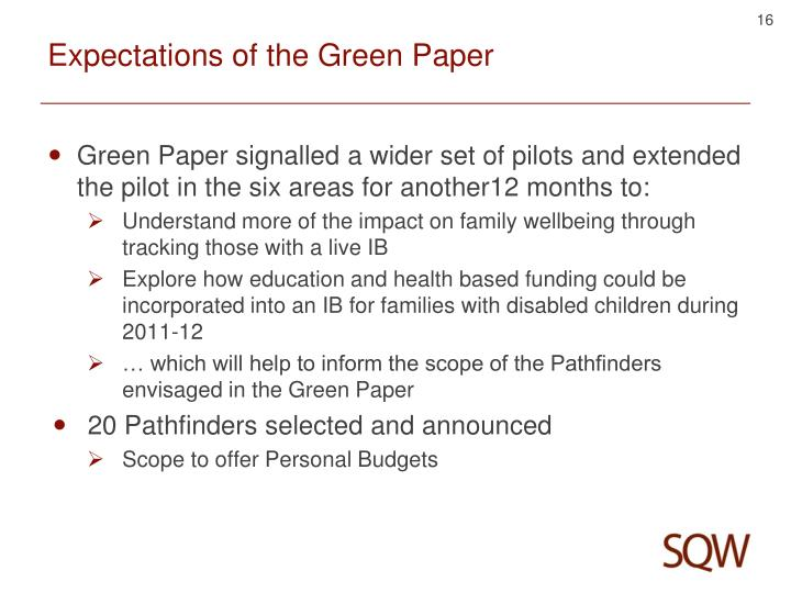 Expectations of the Green Paper