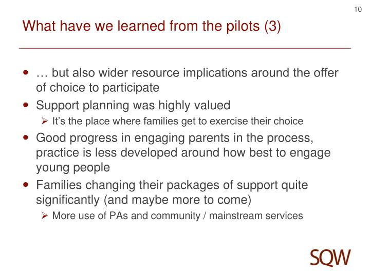 What have we learned from the pilots (3)