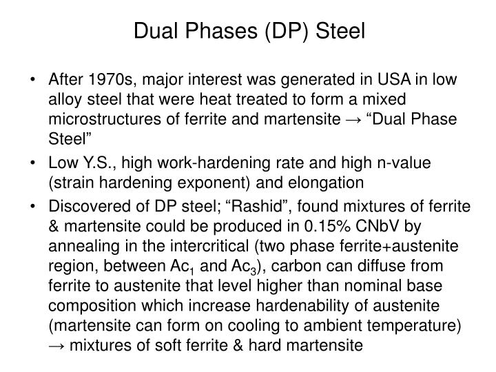 "After 1970s, major interest was generated in USA in low alloy steel that were heat treated to form a mixed microstructures of ferrite and martensite → ""Dual Phase Steel"""