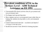 prevalent conditions of ee in the tertiary level adb technical assistance on ee 1991