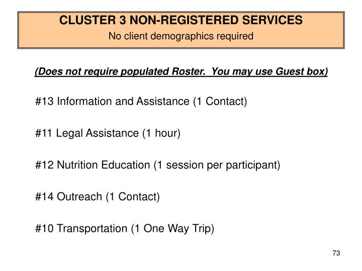 CLUSTER 3 NON-REGISTERED SERVICES