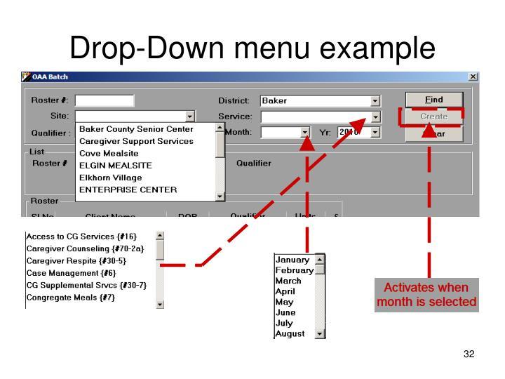 Drop-Down menu example