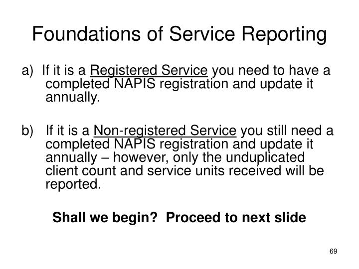 Foundations of Service Reporting