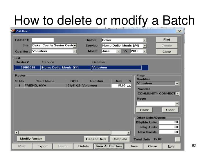 How to delete or modify a Batch