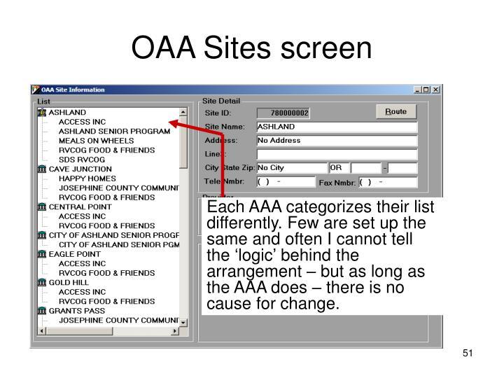 OAA Sites screen