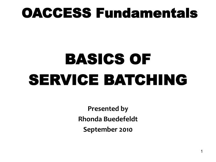 oaccess fundamentals