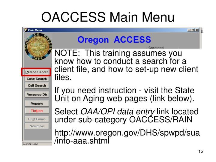OACCESS Main Menu