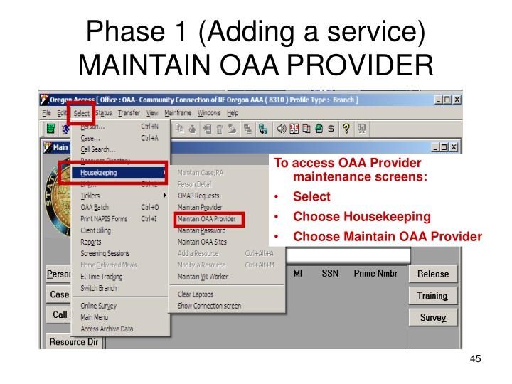 Phase 1 (Adding a service)