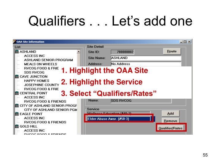 Qualifiers . . . Let's add one