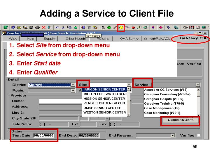 Adding a Service to Client File