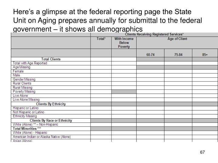 Here's a glimpse at the federal reporting page the State Unit on Aging prepares annually for submittal to the federal government – it shows all demographics