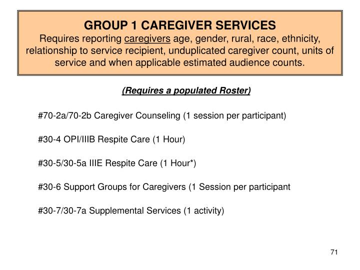 GROUP 1 CAREGIVER SERVICES