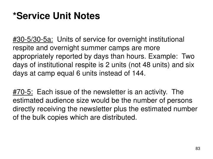 *Service Unit Notes