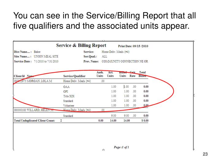You can see in the Service/Billing Report that all five qualifiers and the associated units appear.