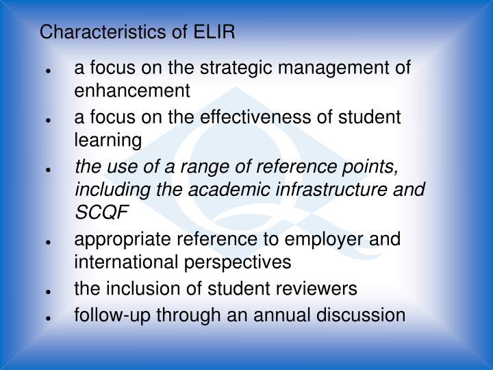 Characteristics of ELIR