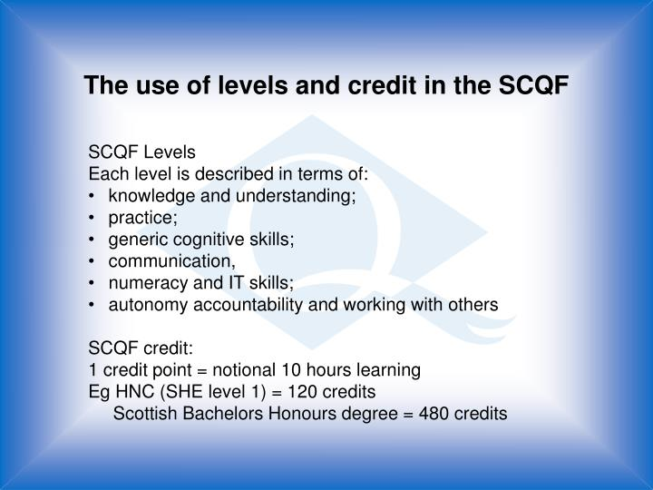 The use of levels and credit in the SCQF
