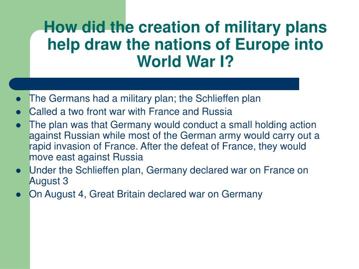 How did the creation of military plans help draw the nations of Europe into World War I?