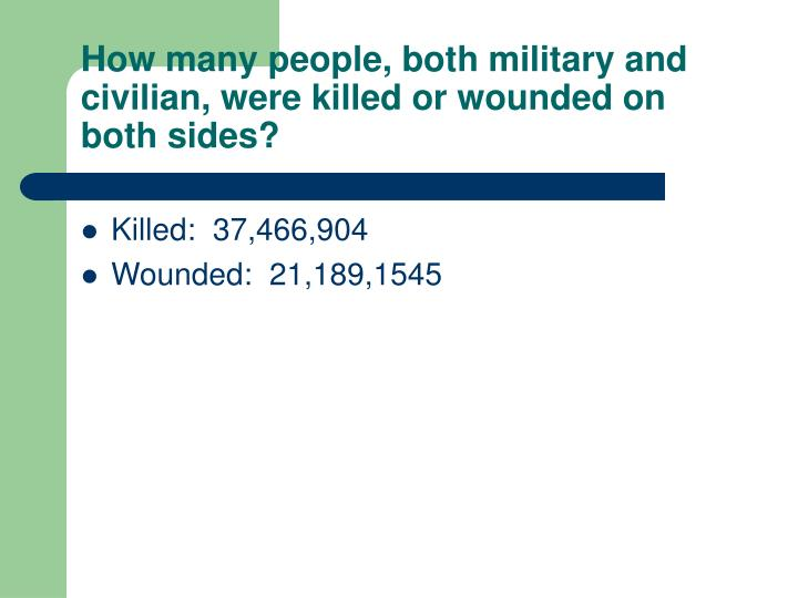 How many people, both military and civilian, were killed or wounded on both sides?