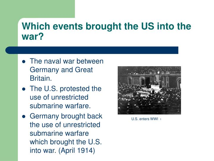 Which events brought the US into the war?