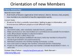 orientation of new members