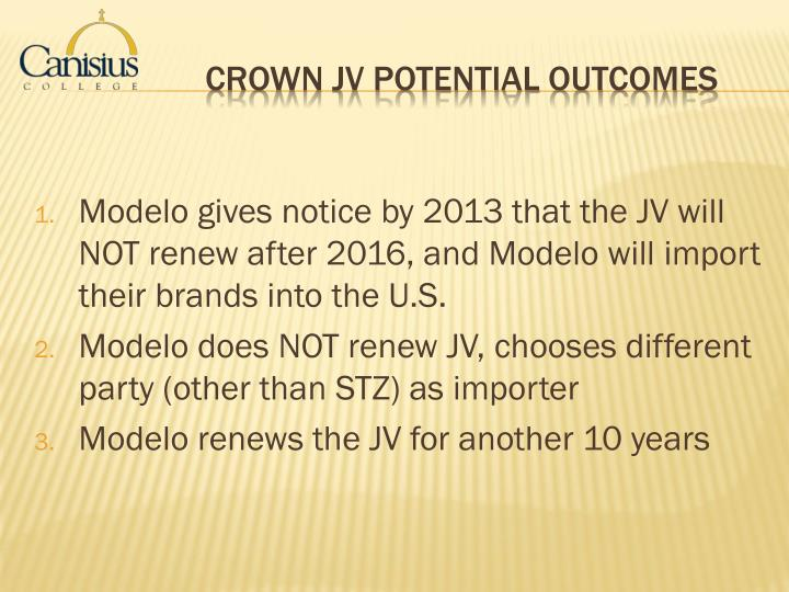 Modelo gives notice by 2013 that the JV will NOT renew after 2016, and Modelo will import their brands into the U.S.