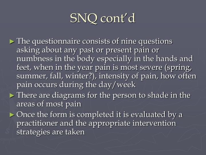 SNQ cont'd