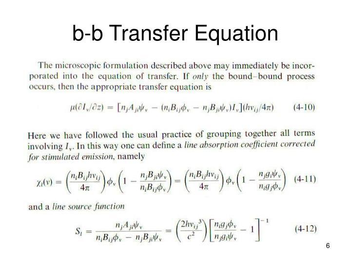 b-b Transfer Equation