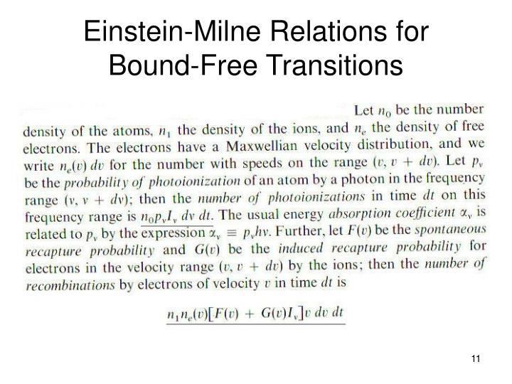 Einstein-Milne Relations for