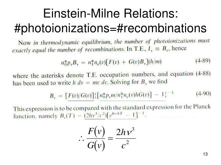 Einstein-Milne Relations: