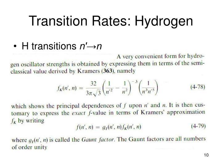 Transition Rates: Hydrogen