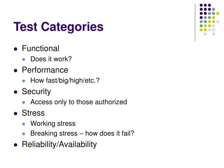 Test Categories