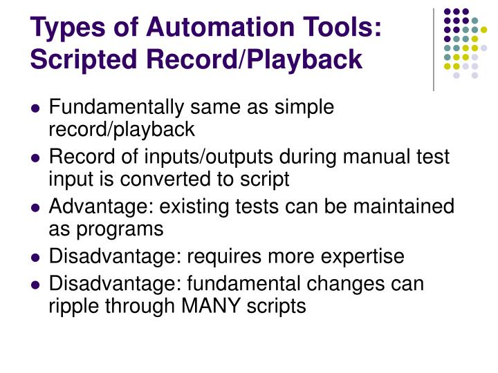 Types of Automation Tools: