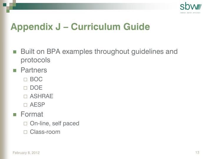 Appendix J – Curriculum Guide