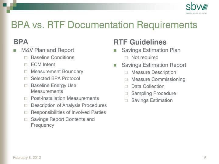 BPA vs. RTF Documentation Requirements