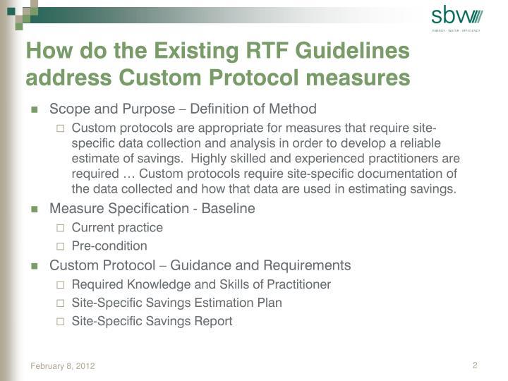 How do the Existing RTF Guidelines address Custom Protocol measures