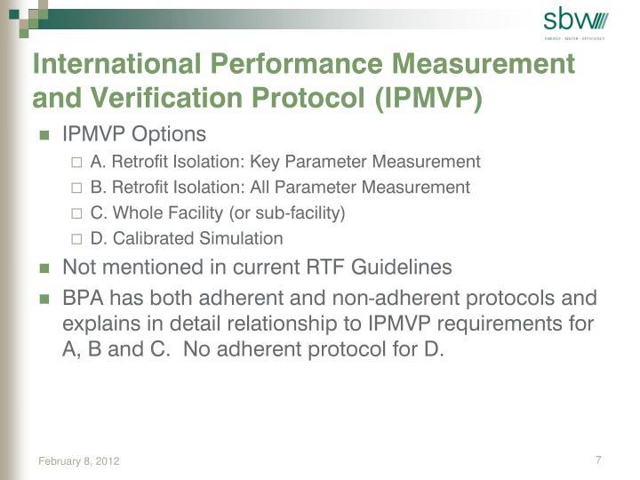 International Performance Measurement and Verification Protocol (IPMVP)