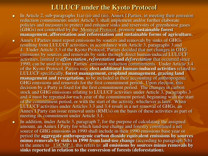 LULUCF under the Kyoto Protocol