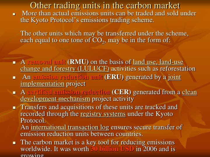 Other trading units in the carbon market
