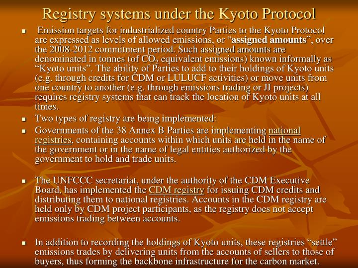 Registry systems under the Kyoto Protocol