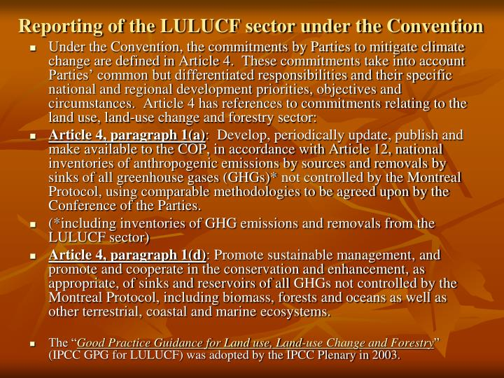 Reporting of the LULUCF sector under the Convention